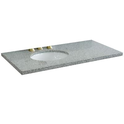 "43"" Gray granite countertop and single oval left sink"